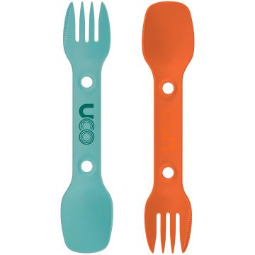 UCO Utility Spork 2-Pack with Tether - Teal/Ember Orange