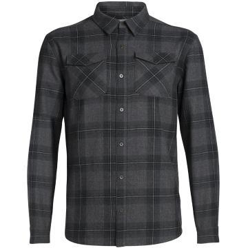Icebreaker Men's Lodge Long Sleeve Flannel Shirt - Jet HTHR