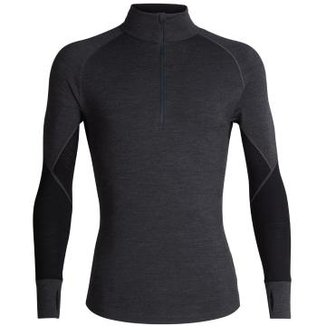 Icebreaker Men's 260 Zone Long Sleeve Half Zip - Jet HTHR/Black
