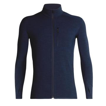 Icebreaker Men's Descender Long Sleeve Zip - DK NIGHTHTHR/CHILIRED