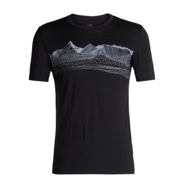 Icebreaker Men's Tech Lite Short Sleeve Crew Pyrenees - Black