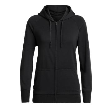 Icebreaker Women's Helliers Long Sleeve Zip Hood - Black