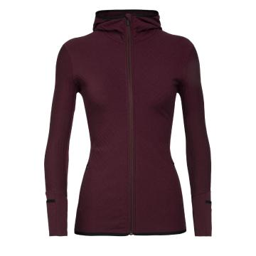 Icebreaker Women's Descender Long Sleeve Zip Hood - Redwood