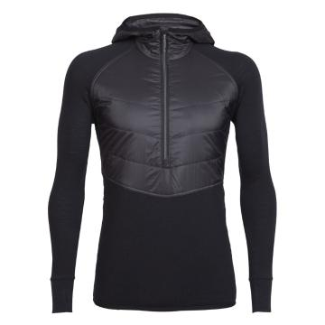 Icebreaker Men's Ellipse Long Sleeve Half Zip Hood - Black/Black/Metal
