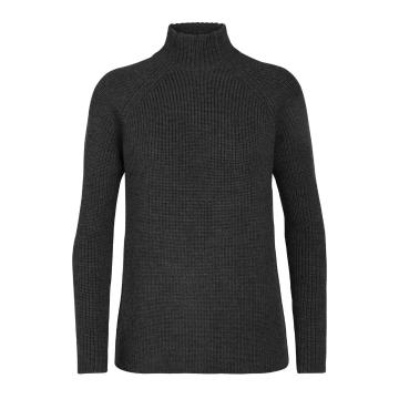 Icebreaker Women's Hillock Funnel Neck Sweater - CHAR HTHR