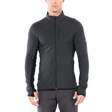 Icebreaker Men's Descender Long Sleeve Zip - Jet HTHR/Black