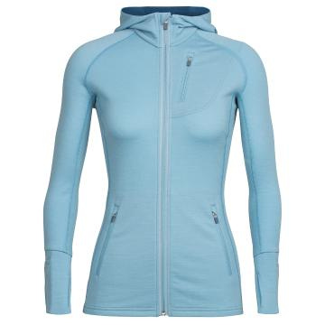 Icebreaker Womens Quantum Long Sleeve Zip Hood - Waterfall/Waterfall