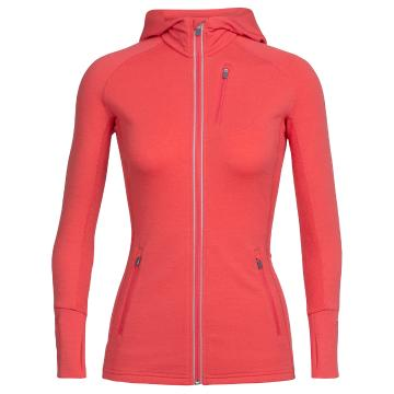 Icebreaker Womens Quantum Long Sleeve Zip Hood - Poppy Red/Poppy Red