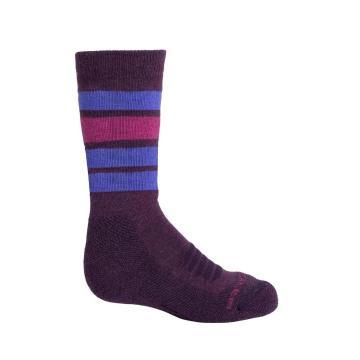 Icebreaker Kids Ski Medium OTC Stripe Socks - Black/Surf
