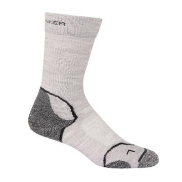 Icebreaker Merino Women's Hike+ Light Crewe Socks - Blizzard HTHR/White/Oil