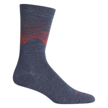 Icebreaker Lifestyle CrewSock Cook By Night Socks - Fathom HTHR/CHILI RED