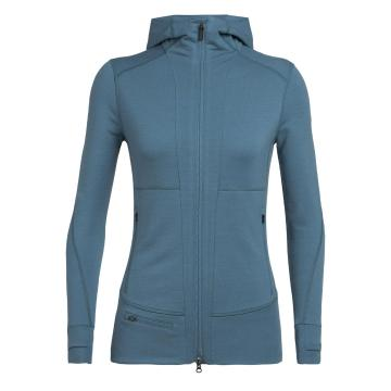 Icebreaker Women's Quantum II Long Sleeve Zip Hood - BLUE SPRUCE