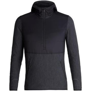 Icebreaker Men's Descender Hybrid Long Sleeve Half Zip Hood - Black/Jet HTHR