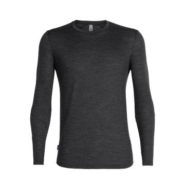 Icebreaker Men's Sphere Long Sleeve Crewe - Black HTHR
