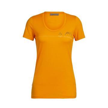 Icebreaker Women's Tech Lite Short Sleeve Scoop Single Line Camp - Sun - Sun