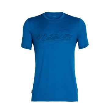 Icebreaker Men's Tech Lite Short Sleeve Crewe Coronet Peak - Isle