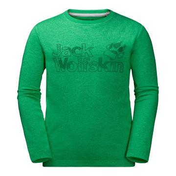 Jack Wolfskin Boy's Long Sleeve Brand Tee - Evergreen