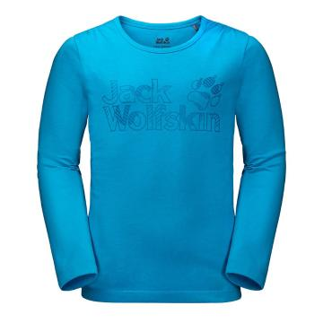 Jack Wolfskin Girl's Long Sleeve Brand Tee - Icy Lake Blu