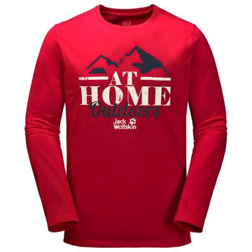 Jack Wolfskin Men's At Home Long Sleeve Tee - Ruby Red