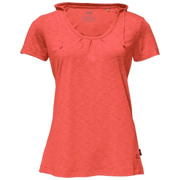 Jack Wolfskin Womens Travel Hoody Tee - Hot Coral