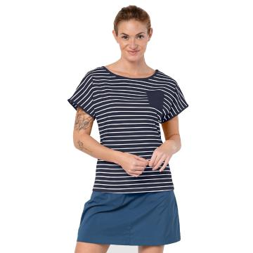 Jack Wolfskin Women's Travel Stripe Tee - Mnight Blu Stripe