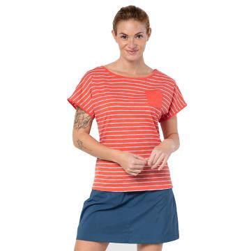 Jack Wolfskin Women's Travel Stripe Tee - Hot Coral Stripes