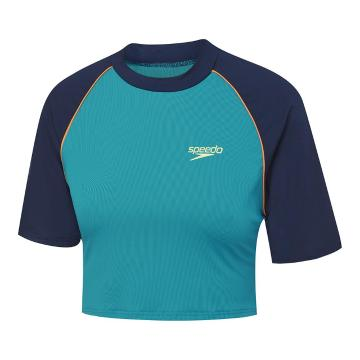 Speedo 2021 Youth Eco Raglan Cropped Rash Top - Surfer/Navy - Navy