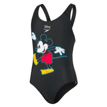 Speedo Girl's Disney Mickey Mouse One Piece - Blk/Red/Yellow/White
