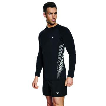 Speedo Mens Kiwi LS Slim fit Sun Top - Black