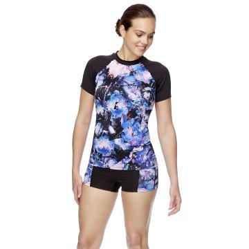Speedo Womens ECO Fabric SS Sun Top - Virtual Bloom/Black