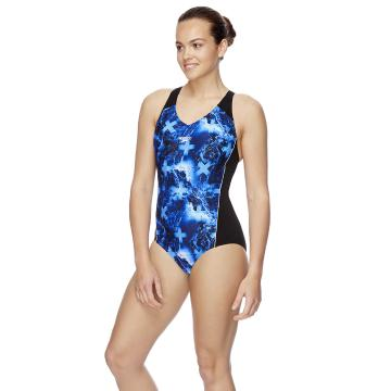 Speedo Womens Splice One Piece - Pacific Ocean/Black