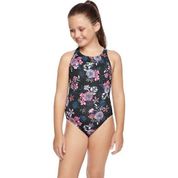 Speedo Girls ECO Fabric Elevate One Piece - Black/Floral