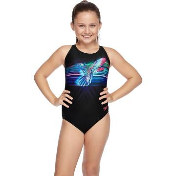 Speedo Girls' Crossback One Piece - Black/Multi