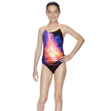 Speedo Girls Lightening Bolt Open Cross Back One Piece - Light Bolt/Black
