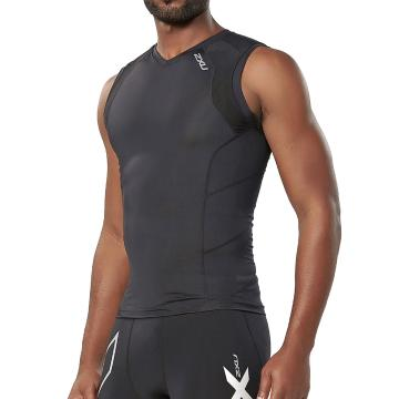 2XU Men's Compression Sleeveless Top - Black/Black