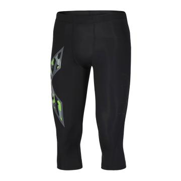 2XU Men's Compression 3/4 Tights - Black/Grey Green Camo