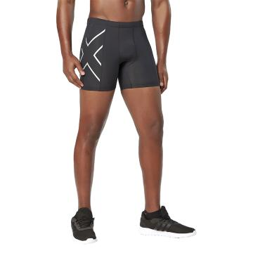 2XU Men's Compression 1/2 Shorts - Black/Silver