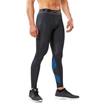 2XU Men's Accelerate Compression Tights - Blk/Arrow Stripe Director Blue