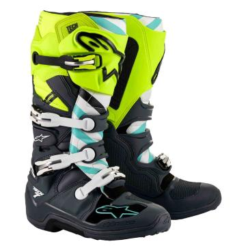 Alpinestars Tech-7 MX Boots - Gray/Yellow Fluro/Turquoise - Gray/Yellow Fluro/Turquoise