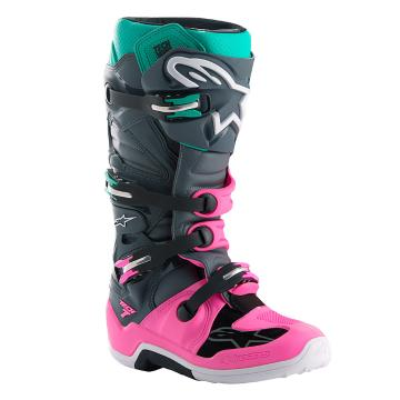 Alpinestars Limted Edition Indy Vice Tech7 Boots - Grey/Pink/Turuoise
