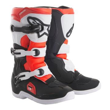 Alpinestars Tech-3S Youth MX Boots - Black/White/Red Fluoro