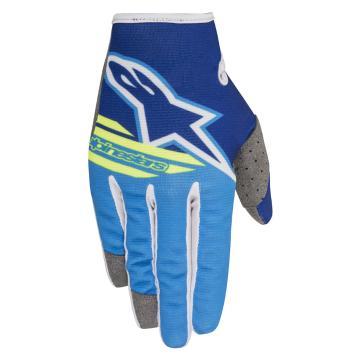 Alpinestars 2018 Radar Flight Gloves - Blue/Aqua/Yellow Fluoro