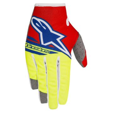 Alpinestars Radar Flight Gloves - Red/Yellow Fluoro/Blue