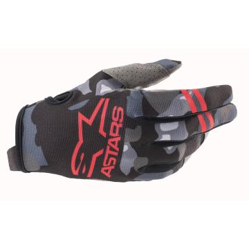 Alpinestars Youth Radar Gloves - Gray/Camo/Red Fluro