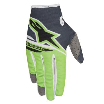 Alpinestars Youth Radar Flight Gloves - Anthracite/Green Fluoro