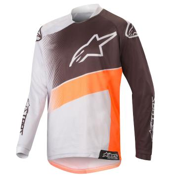 Alpinestars 2019 Youth Racer Supermatic Jersey - Light Grey/Orange Fluoro/Black