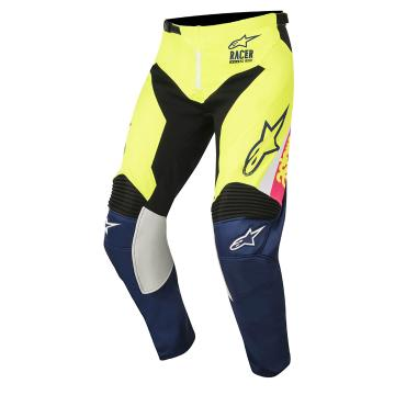 Alpinestars Youth Racer Supermatic Pants - Yellow Fluoro/White/Dark Blue