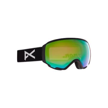 Anon 2021 Women's WM1 Goggles with Spare Lens and MFI Facemask - Black/Prcv Vrbl Grn