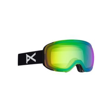 Anon Men's M2 Asian Fit Goggles with Spare Lens - Black/Sonargreen - Black/Sonargreen