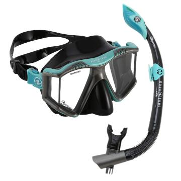 Aqualung 2020 Prism Adult Snorkel Combo - Turquoise/Black - Turquoise/Black